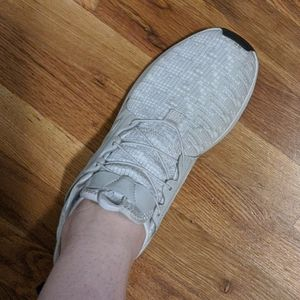 Cream, white, and Grey Adidas shoes